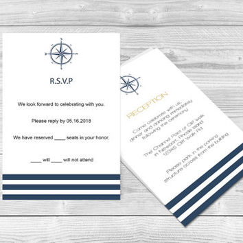 Nautical Wedding RSVP Card - Navy Compass & Stripes Printable Response Card Editable PDF Template - Instant Download - DIY You Print