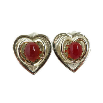 Vintage Heart Shaped Earrings, Carnelian Red Gold Tone Signed Coro Clip-on Earrings