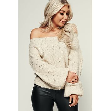 Rise And Shine Sequin Sweater (Ivory/Gold)