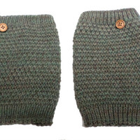 Women's Olive Green Mix Popcorn Pattern Crochet Knit Button Boot Cuffs, Boot Toppers, NEW COLORS, gift
