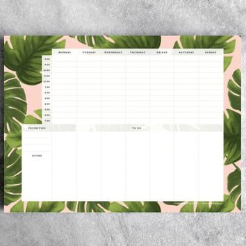 Weekly Planner Desk Pad, Monstera | To Do List Notepad | Daily Planner, Goal Planner  || Favorite Story