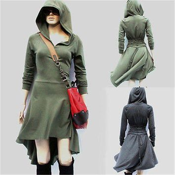 DCCKLW8 GLANE 2017 Women Long Sleeve high low Hoodie dress Club Party Mini day Beach Cover Ups