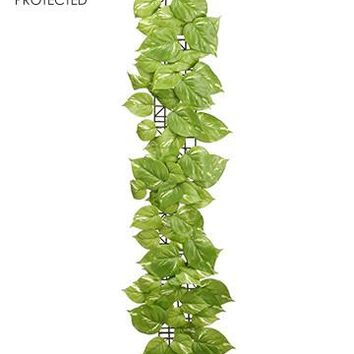 UV Protected Outdoor Silk Pothos Leaf Garland in Light Green - 3' Long