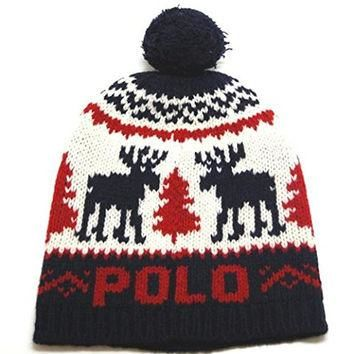 POLO RALPH LAUREN Red Logo Pom Reindeer One Beanie Wool Hat Blue One Size