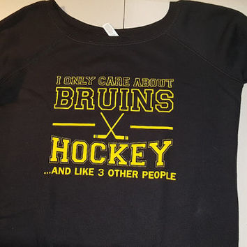 SALE ITEM!!! I only care about Bruins hockey and like 3 other people (Large Wide Neck--Black)