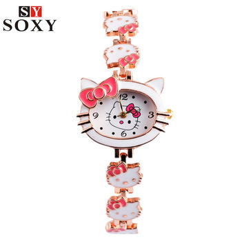 Hello Kitty Wrist watch Kids Watches Cute Children's Watches Girls Cartoon Watches Clock Gift saat montre enfant relogio reloj