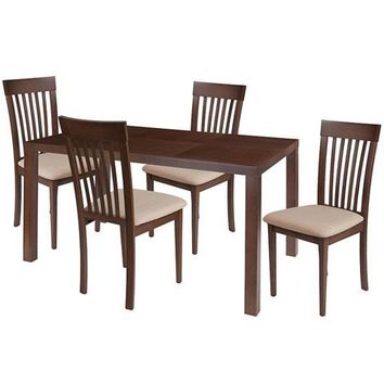 Eastchester 5 Piece Walnut Wood Dining Table Set with Rail Back Wood Dining Chairs - Padded Seats