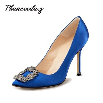 New 2017 High Quality Women Pumps Blue Sexy Basic Pointy Toe Stilettos High Heels Wedding Shoes Thin Heels Suede Shoes