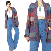 Vintage 70s Cardigan Striped Slouchy Cardigan Multi Color Wide Stripes Knitted Sweater Open Front Cardigan Boho Cardigan with Pockets (M)