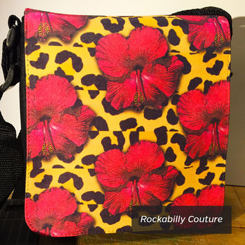 Leopard Print Fabric, Hibiscus Flower, Floral Print Hand Bag, Small Shoulder Bag, Flower Collage, Collage Art, Messenger Bag, Hip Bag