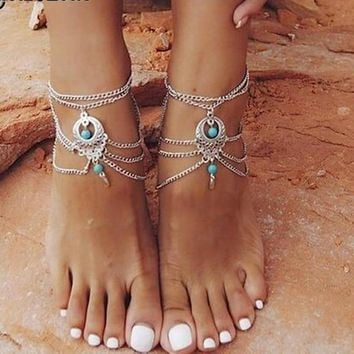 Vintage Tassels Cute Women Ankle Bracelet Ladies Anklet Ankle Chain Leg Jewelry Gold Silver Color