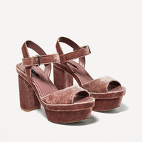 VELVET PLATFORM SANDALS - View all-SHOES-WOMAN | ZARA United States