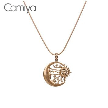 Comiya Fashion Sun Moon Star Vintage Accessories Dragonfly Pattern Pendant Necklaces Zinc Alloy Bijoux Necklace For Women CC