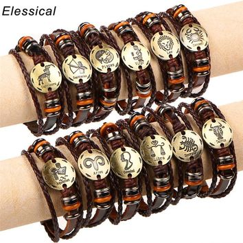 ELESSICAL Retro Colorful Bronze Twelve Constellation Buckle Punk Couple Woven Leather Bracelet Jewelry For Women Men