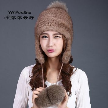 YIYIYUNSHU Real Whole skin mink fur pompom Hat Women knitted winter genuine fur cap three ball beanie natural fur cute hat girl