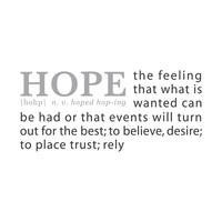 wall quotes wall decals - HOPE: A Definition