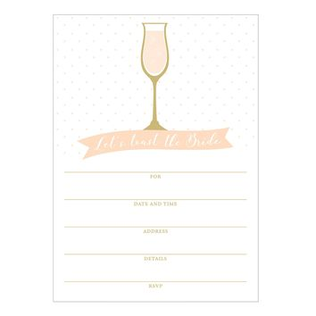Bridal Champagne Fill In Invitations 10 pack