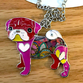 Statement Metal Alloy Enamel Pug Dog Choker Necklace Chain Collar Bulldog Pendant White Heart Enamel