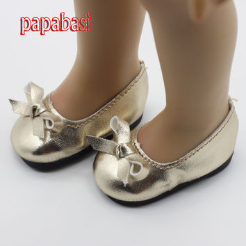 Papabasi 18 Inch American Girl Doll Shoes Cute Leather Ballet Shoes Girl Dolls