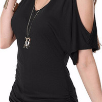 V-Neck Cut-Out Sleeve Casual Top