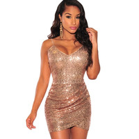 Sexy club dress 2017 vestidos de fiesta rose gold sequin dress short ruched backless summer mini dress sexy club wear A22626