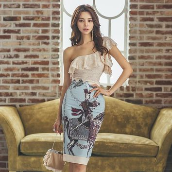 Sexy Summer Women Two Piece Set 2019 New Slash Neck Lace Ruffles Backless Top + Office Lady Print Sheath Pencil Skirt Suits