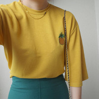Women's Pineapple embroidered loose T-shirt sold by UZIP