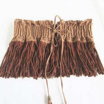 Bohemian Belt/ Fringe Belt / Indian Belt/  Elastic Belt- Suede Belt/ Gypsy Belt.