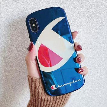 Champion Newest Couple Personality Elliptical Blu-Ray Soft Silicone Mobile Phone Cover Case For iphone 6 6s 6plus 6s-plus 7 7plus 8 8plus X XS Max XR Blue