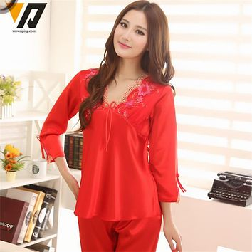 XMWEIPING Womens Silk Pyjamas Set Satin Pajamas Set Pajama Sleepwear Spring Summer Kits For Sleep Tracksuit Mother Day Best Gift