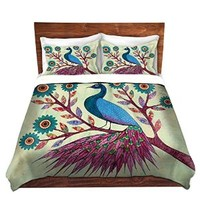 Duvet Cover Brushed Twill Twin, Queen, King SETs from DiaNoche Designs by Sascalia Unique Home Decor and Designer Bedding Ideas - Blue Peacock