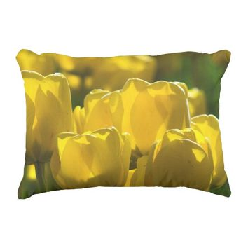 Yellow Tulips. Decorative Pillow
