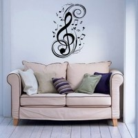 Note Notes Waves Music Musical Treble Clef Decor Recording Music Studio Wall Vinyl Decal Art Sticker Home Modern Stylish Interior Decor for Any Room Smooth and Flat Surfaces Housewares Murals Design Graphic Bedroom Living Room (4118)