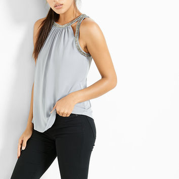 bead embellished cut-out tank
