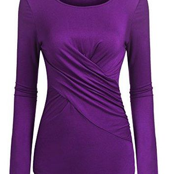 Women Ruched CrossFront Scoop Neck Long Sleeve Slim Fitted Blouse Shirt