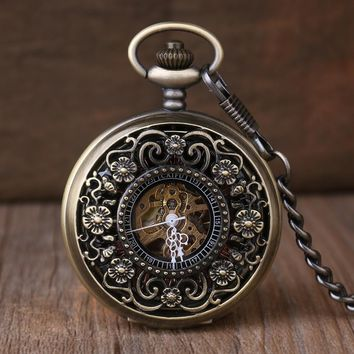 Antique Pocket Watch Steampunk Double Open Hunter Gear Mechanical Hand Wind Fob Time Hours With Chain Pendant Gift