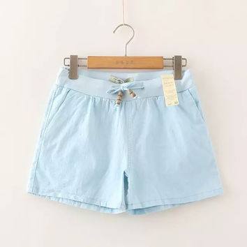 Casual Cotton Linen Pants Summer Permeable Women's Fashion Shorts [6034607233]
