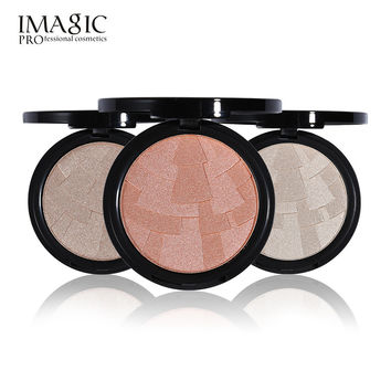 3 Color Highlighter Powder Imagic Brand Brighten Face Matte Palette Highlight Contour Bronzer Makeup Foundation with Mirror Tool