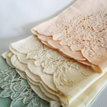 Delicate HandEmbroidered Linen Guest Towels by owlsongvintage