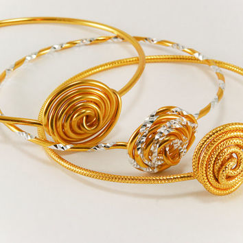 Stacking Bracelets Set of 3 Gold and Silver Rose Aluminum