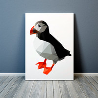 Colorful decor Puffin print Animal art Bird poster TO372-1