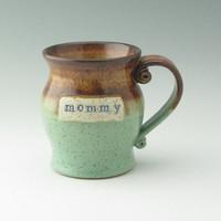 Rustic Personalized Pottery Mug Made to Order, Handmade Stoneware 16 oz Coffee Mug, Custom Name Pot Belly Ceramic Mug