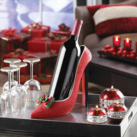 Festive Fashionista Red High Heel Shoe with Bows Wine Bottle Holder