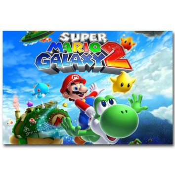 Super Mario party nes switch  Galaxy Art Silk Fabric Poster Print 13x20 24x36 inch Vedio Game Pictures for Living Room Wall Decoration Yoshi 045 AT_80_8
