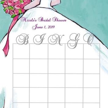 10 Blue Bridal Shower Bingo Cards