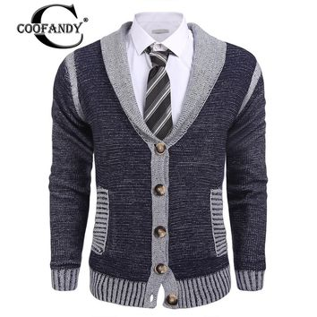 COOFANDY 2017 New Arrivals Men Basic Shawl Collar Long Sleeve Gentleman Cloth Knitted Slim Fit Cardigan Sweater US Size S-XXL
