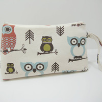Large Owl Pouch, Owl Diaper Clutch, Travel Bag, Zippered Accessory Pouch, with Strap, Ready to Ship