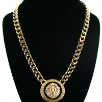 Versace Necklace Style Gold Lion Chain Jewelry