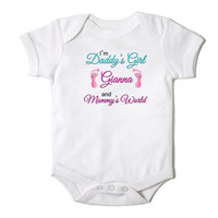 I'm Daddy's Girl and Mommy's World Personalized Baby Girl Onesuit Bodysuit