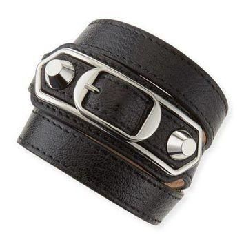 ONETOW balenciaga classic leather wrap bracelet black 2